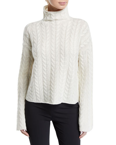 Horseshoe Cable Turtleneck Bell-Sleeve Sweater