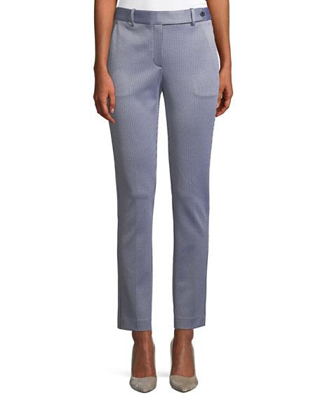 Slim Straight-Leg Linear Knit Trousers