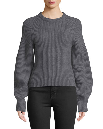 Huron Sculpted-Sleeve Crewneck Merino Wool Sweater