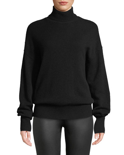 Cashmere Drop-Shoulder Turtleneck Sweater