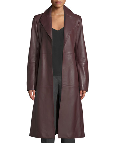 Cinched Trench Belted Luxe Napa Lamb Leather Trench Coat