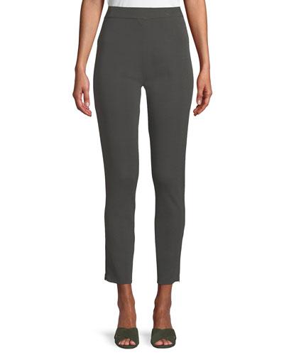 Knit Ankle-Zip Legging Pants, Petite