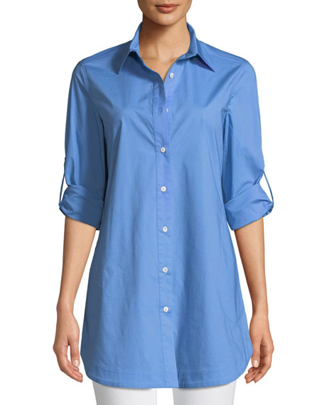 Misook Stretch-Cotton Shirt with Painter's Pockets, Plus Size