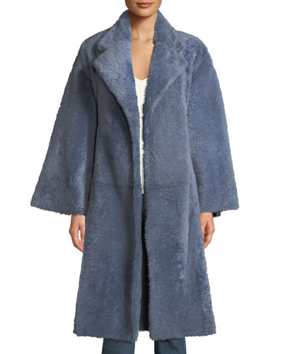Soft Open-Front Belted Lamb Shearling Fur Coat
