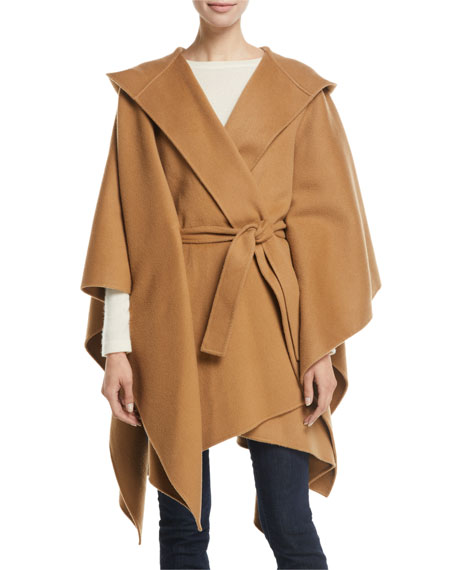 Theory Hooded New Divide Wool-Cashmere Poncho w/ Self-Belt