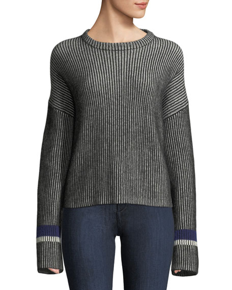 Theory Mixed-Stripe Crewneck Cashmere Sweater