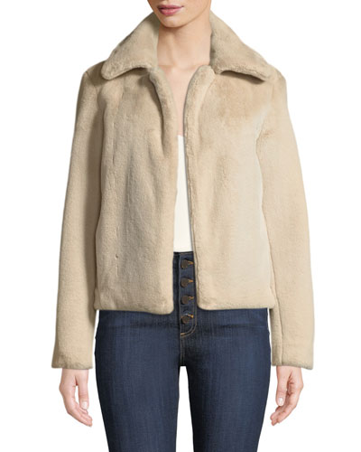 Luxe Faux-Fur Portrait-Neck Jacket