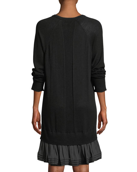 Long-Sleeve Ruffle Sweater Dress