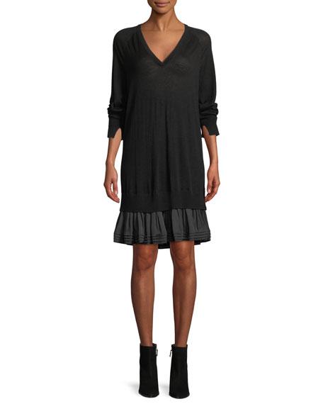 Long-Sleeve Ruffle Sweater Dress
