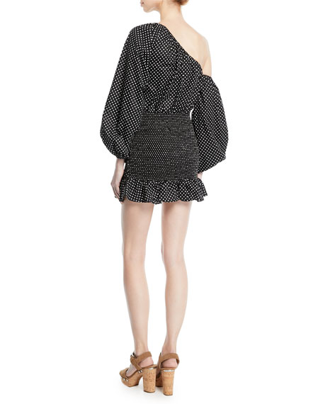 Cynthia Polka-Dot Flounce Blouson-Sleeve Mini Dress