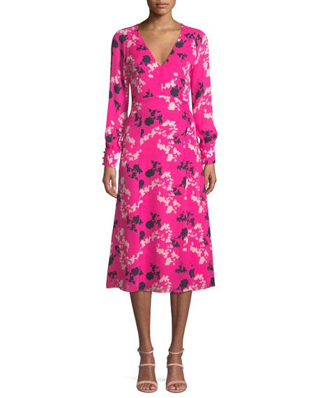 Tanya Taylor Alannah Printed Silk V-neck Midi Dress