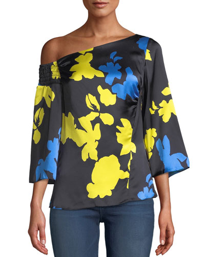 Bella Floral Silk One-Shoulder Top