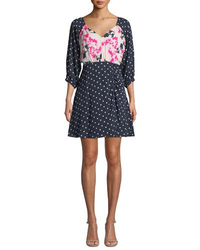 Natalia Dot-Print Silk Dress