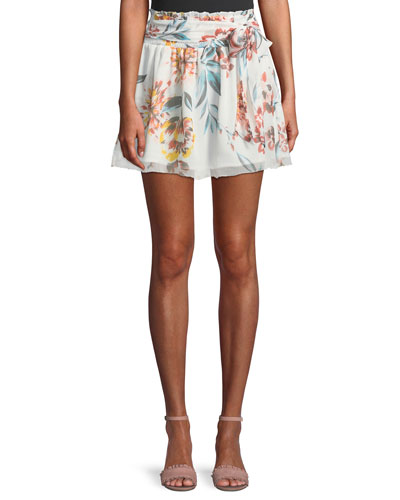 Ida Tie-Front Floral-Print Mini Skirt