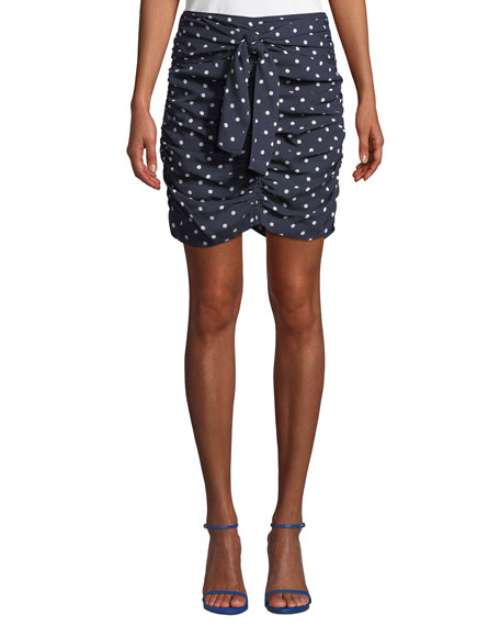 Tanya Taylor Ava Ruched Dot-Print Silk Georgette Skirt