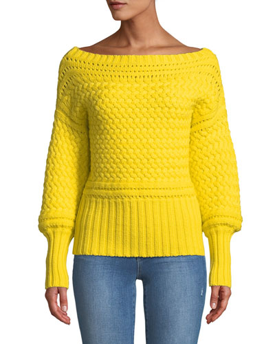 Marie Cable-Knit Off-Shoulder Sweater