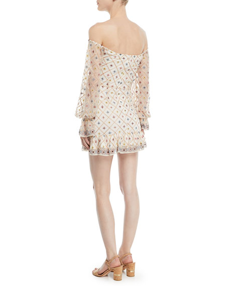 Kassandra Off-the-Shoulder Embroidered Mini Dress