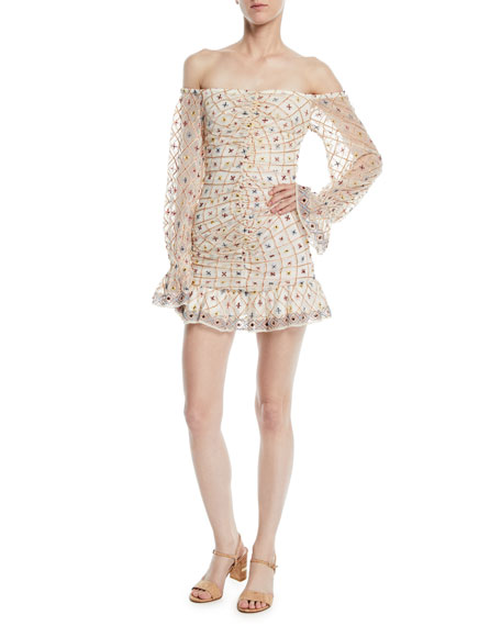 TULAROSA Kassandra Off-The-Shoulder Embroidered Mini Dress in Cream