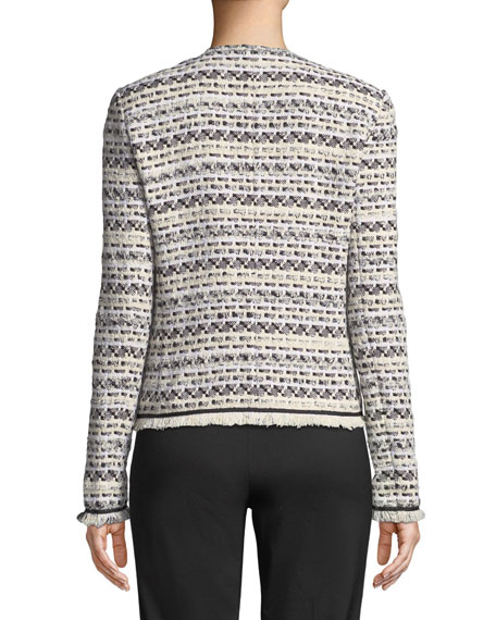 Benji Modulated Tweed Jacket w/ Frayed Trim