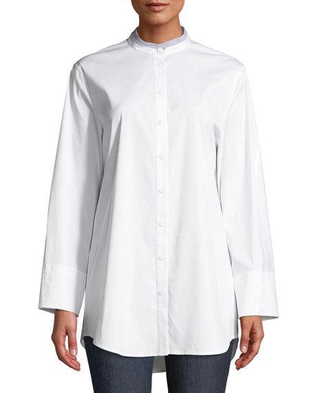 Lenno Italian-Stretch Cotton Blouse