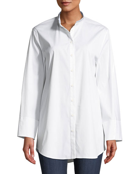 Lafayette 148 New York Lenno Italian-Stretch Cotton Blouse