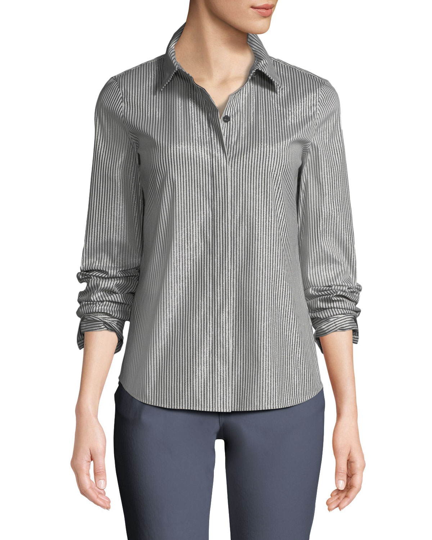e2477f25099bbd Lafayette 148 New York Phaedra Captivating Stripe Shirting Blouse ...