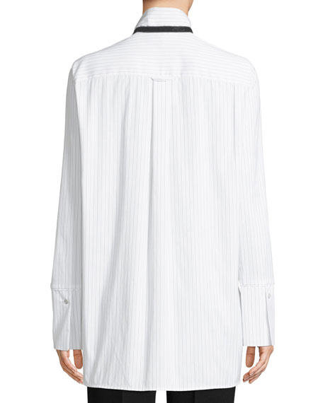 Annaliese Stanford Striped Blouse w/ Contrast Trim