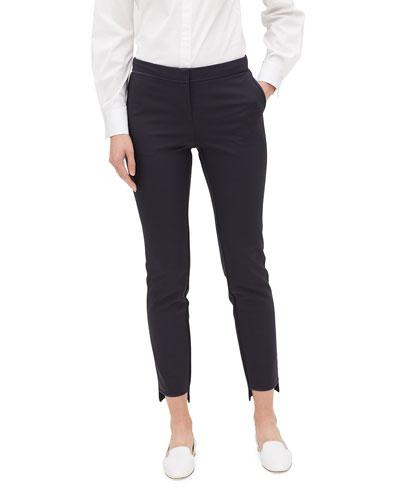 Manhattan Slim-Leg Stretch Pants w/ Step Hem
