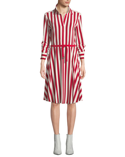 Flared Knee-Length Shirtdress