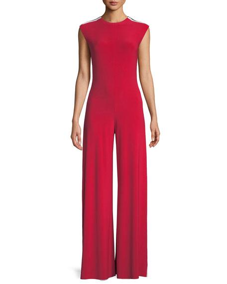 Side Stripe Sleeveless Jumpsuit