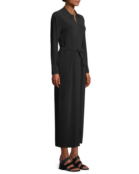 Long-Sleeve Maxi Shirtdress w/ Belted Waist