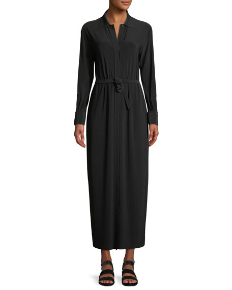 LONG-SLEEVE MAXI SHIRTDRESS W/ BELTED WAIST
