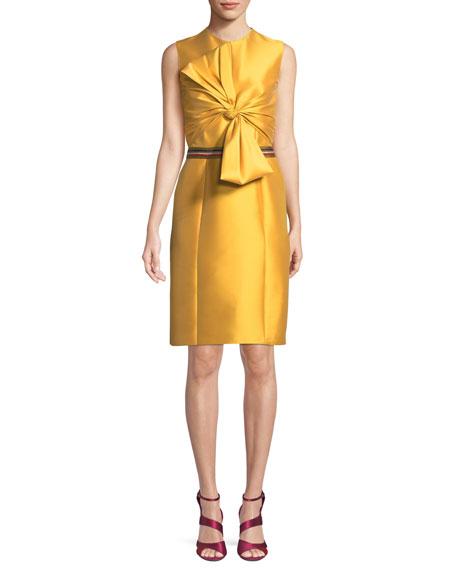 Josie Imago Bow Cocktail Dress w/ Striped Waist