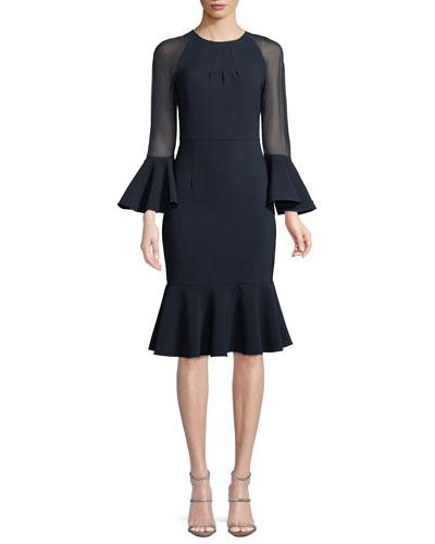 Sheer-Sleeve Flounce-Hem Cocktail Dress