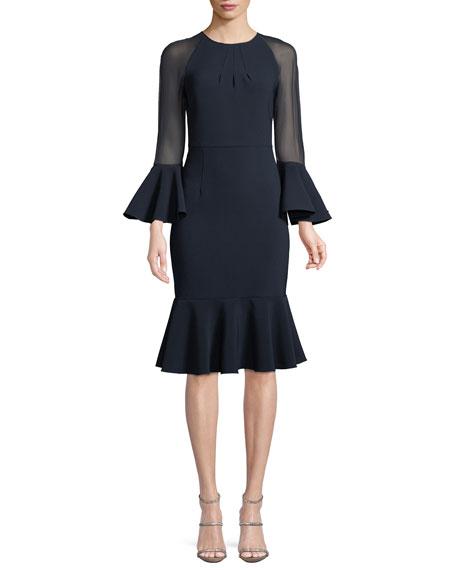 Sachin & Babi Noir Sheer-Sleeve Flounce-Hem Cocktail Dress