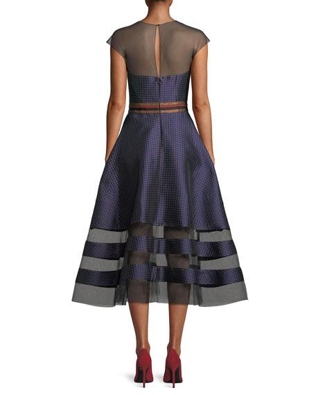 Andrea Dotted Midi Dress w/ Sheer Yoke