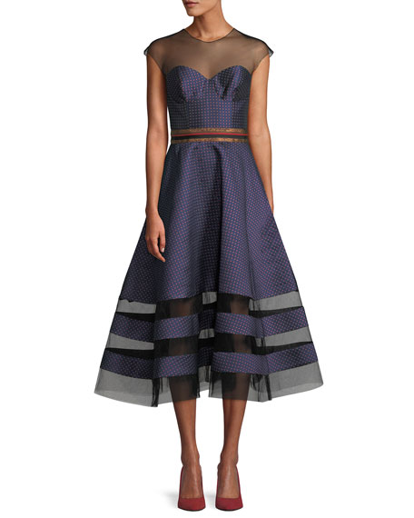 Sachin & Babi Noir Andrea Dotted Midi Dress