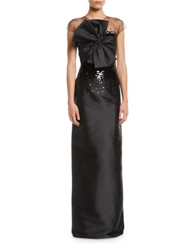 Benabu Sequin Gown w/ Sheer Yoke & Bow