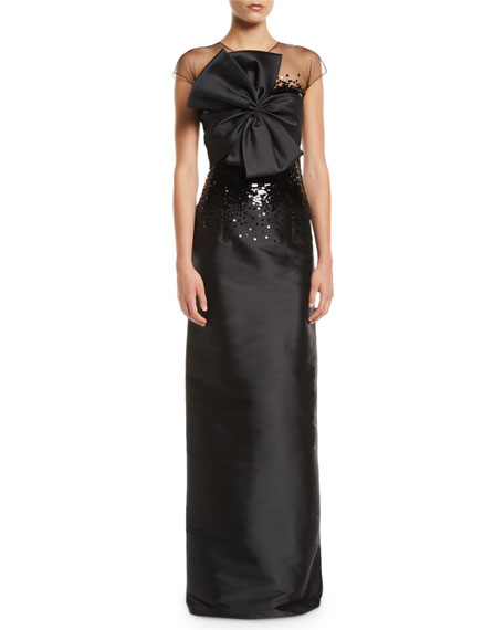 Benabu Sequin Gown w/ Sheer Yoke & Bow
