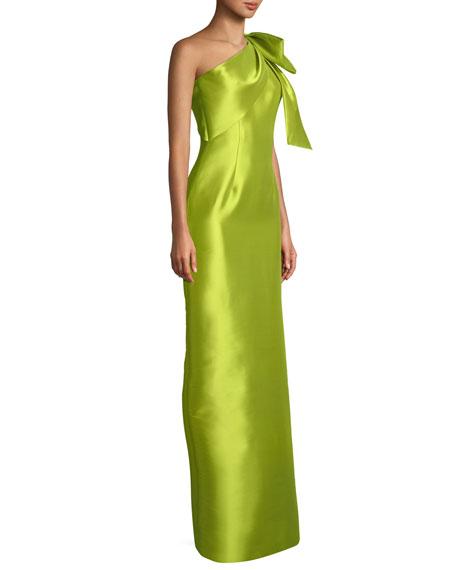 Bonnie Asymmetric Bow-Shoulder Gown