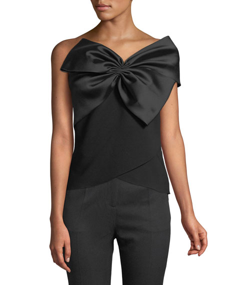 Sachin & Babi Noir Maddie One-Shoulder Bow Top
