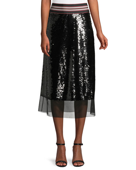 Labelle Stripe-Waist Sequin A-Line Skirt