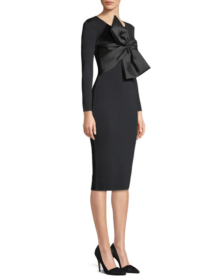Mimi Bodycon Long-Sleeve Bow Cocktail Dress