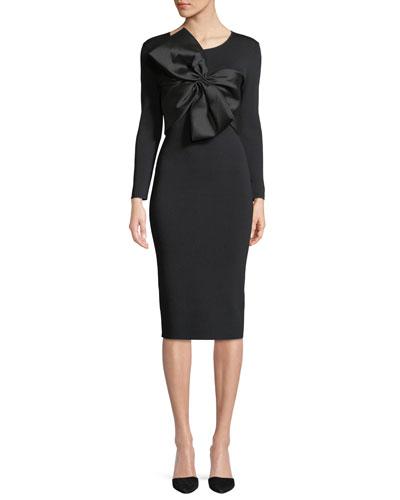 Mimi Bodycon Long-Sleeve Bow Cocktail Dress