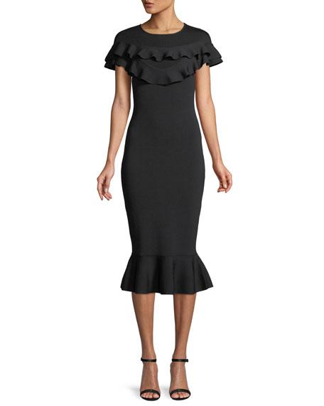 NATALIE BODYCON COCKTAIL DRESS W/ RUFFLES