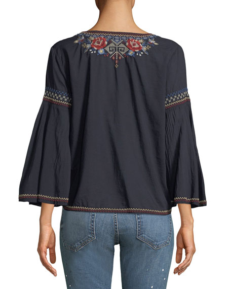 Bohdi Embroidered Cotton Voile Swing Shirt