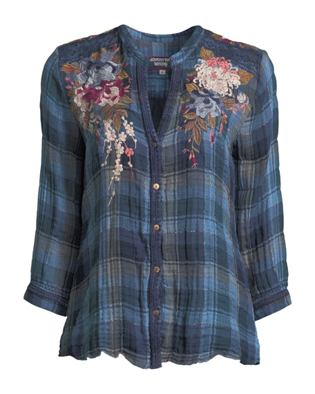 Pascal Aragon Plaid Embroidered Blouse