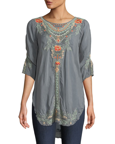 Johnny Was Olive Blossom Embroidered Easy Tunic and