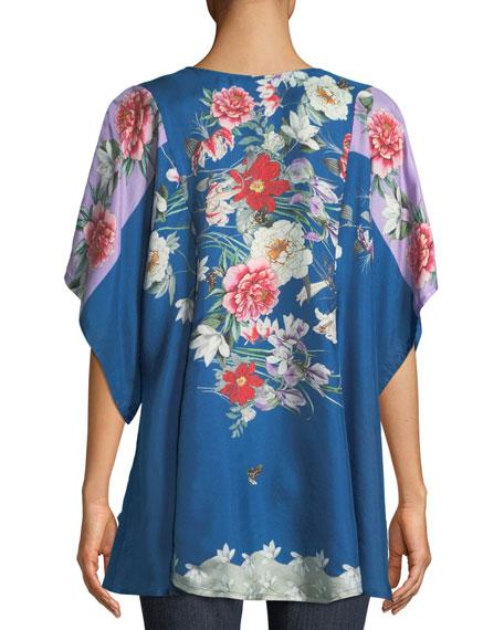 Samira Floral-Print Twill Poncho Top
