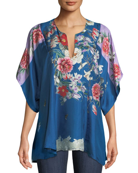 Johnny Was Samira Floral-Print Twill Poncho Top